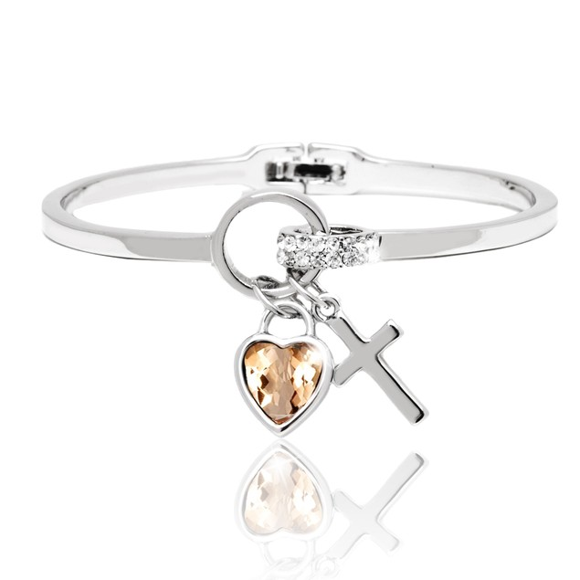 Silver and Topaz Crystal Elements Heart and Cross Charm Cuff