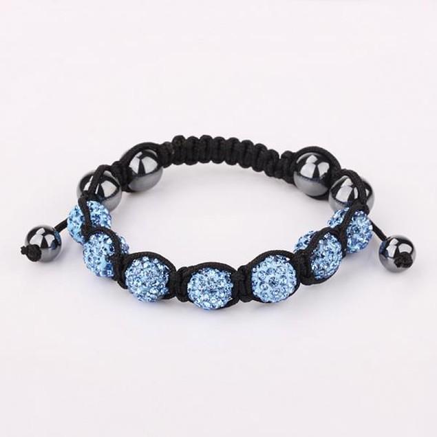 80's Glam Six Beads Austrian Crystal Bracelet - Bright Sapphire