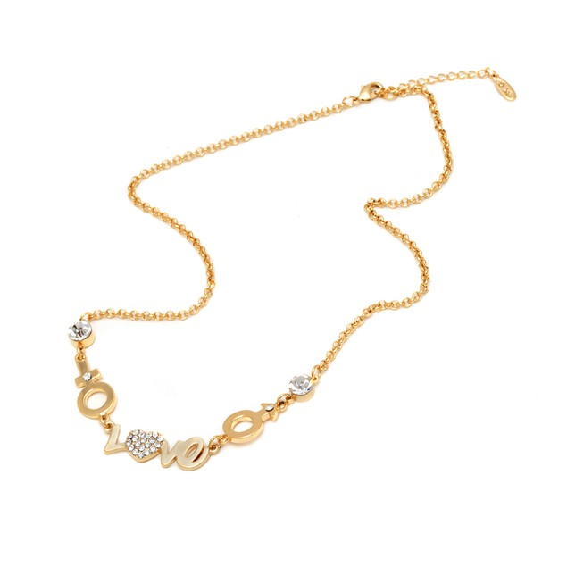 Gold and Sparkle Love Necklace