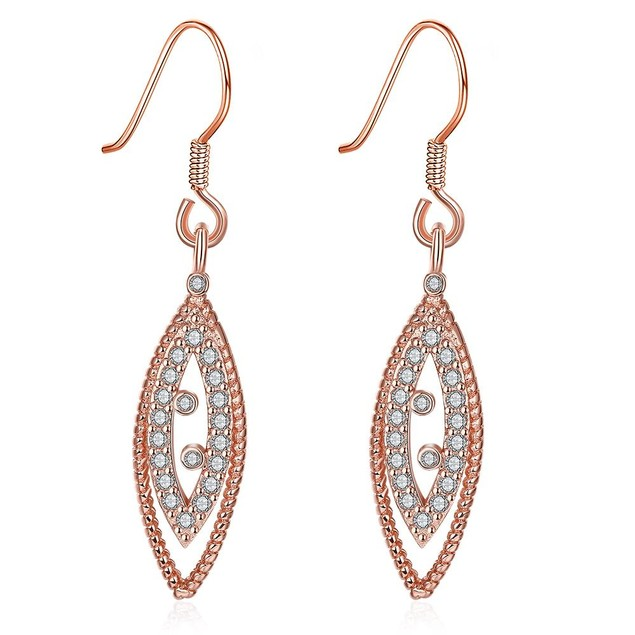 Rose Gold Plated Classic Roman Inspired Drop Down Earrings