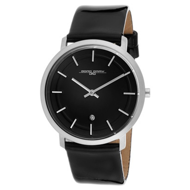 Jorg Gray Men's Black Dial Black Patent Genuine Leather