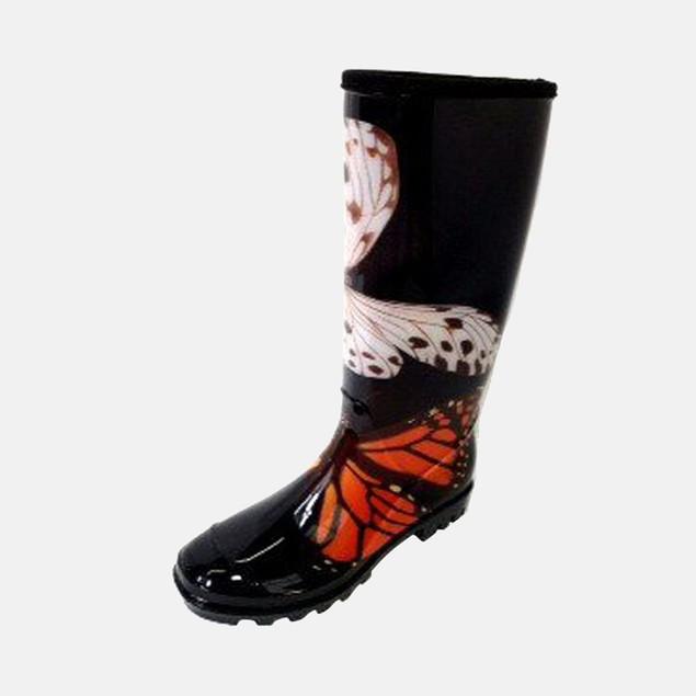 Butterfly Print Black Orange Multi Rain Boots