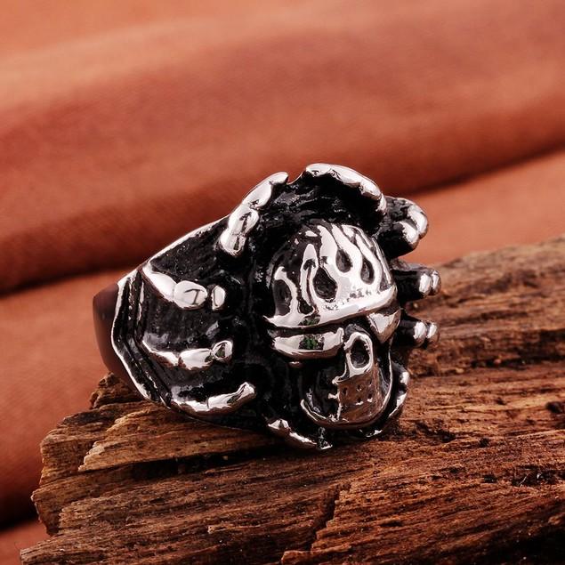 Skull Emblem Stainless Steel Ring
