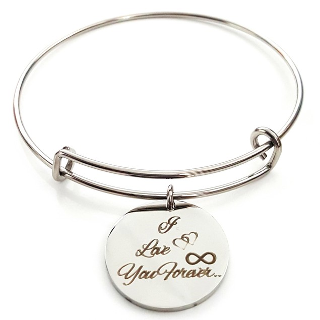 I Love You Forever Stainless Steel Bangle