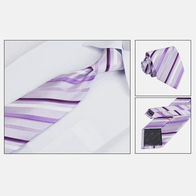 Mens Dress Suit Tie Set - Purple Stripe