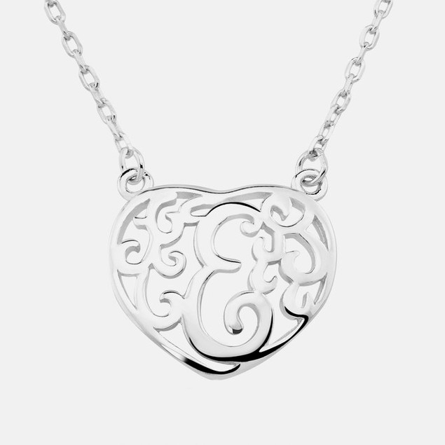 Sterling Silver Heart Shaped Monogram Pendant - E