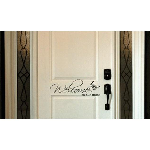 Welcome Butterfly Door Decal