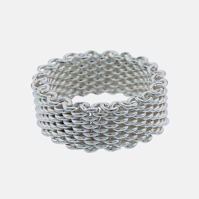Designer Inspired Sterling Silver Woven Mesh Ring