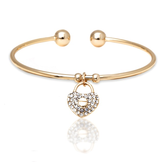 18K Gold & Swarovski Elements Crystal Heart Cuff