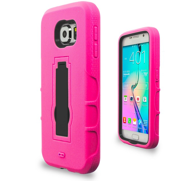 Samsung Galaxy S6 Hybrid Heavy Duty Armor Case Cover with Stand