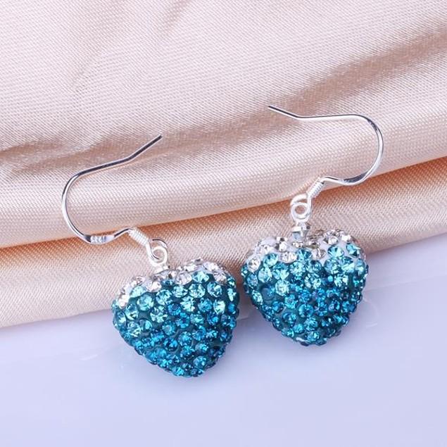 Heart Shaped Austrian Stone Drop Earrings -Light Blue
