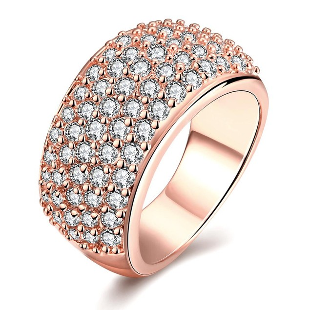 Rose Gold Plated Classical pave Ring