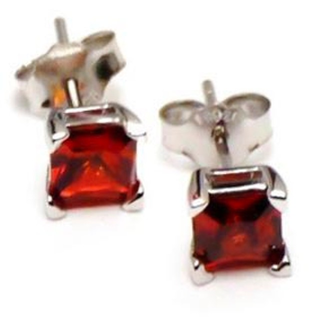 Sterling Silver 4mm Red Cubic Zirconia Stud Earrings