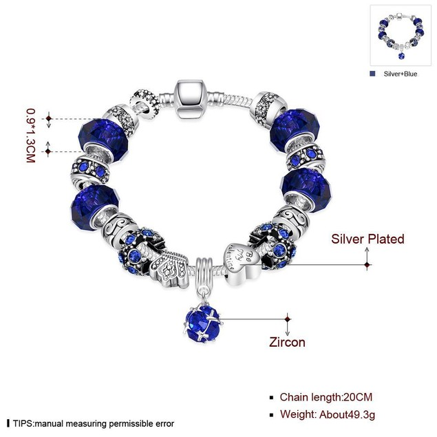 50 Shades of Aqua Blue Designer Inspired Bracelet