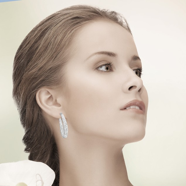 White Crystal Inside/Outside Oval Hoop Earrings