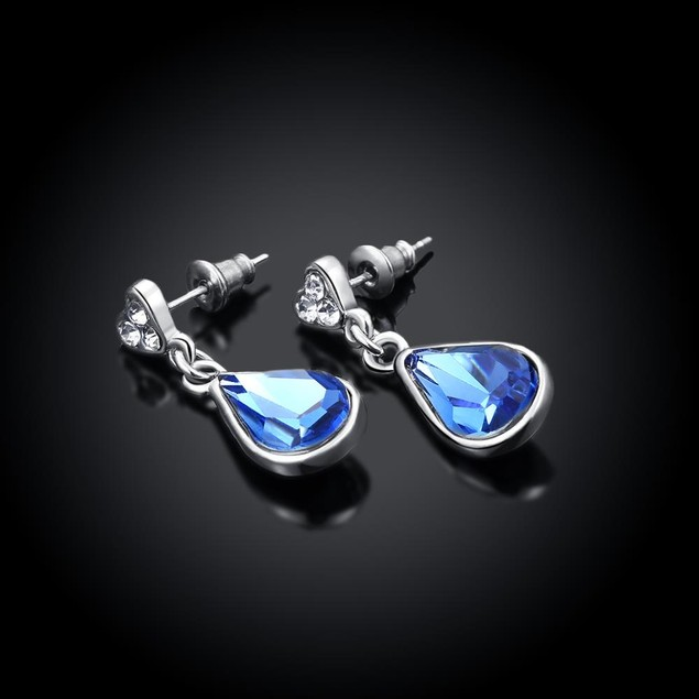 Italian White Gold Plated Blue Drop Earring