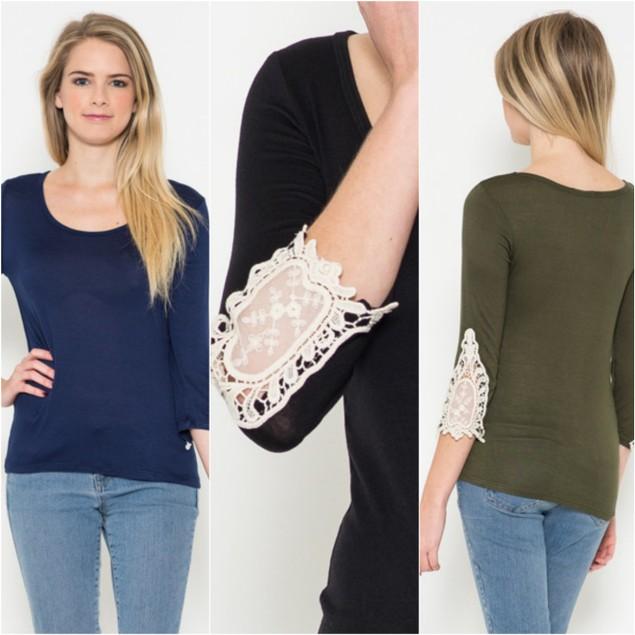 Crochet Sleeve 3/4 Sleeve Top - 5 Colors