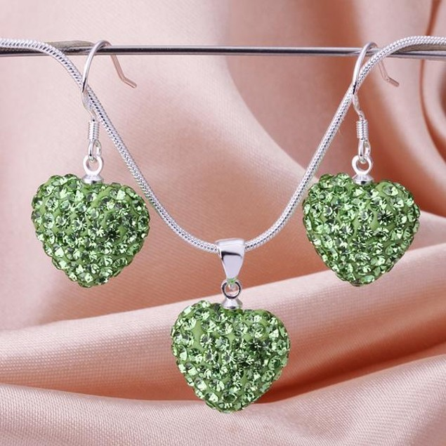 Austrian Stone Solid-Pave Heart Earring and Necklace Set - Light Green