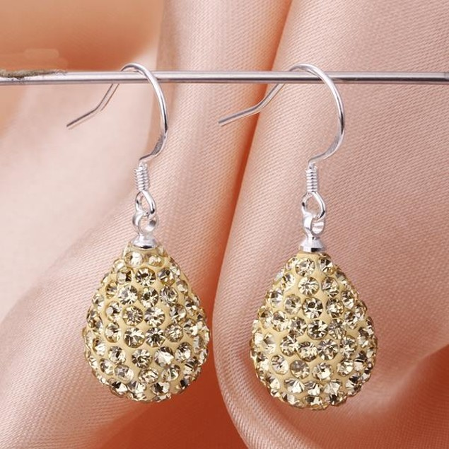 Pear Shaped Solid Austrian Stone Drop Earrings - Bright Champagne