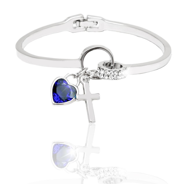 Silver and Sapphire Crystal Elements Heart and Cross Charm Cuff