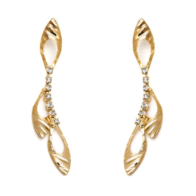 Gold & Simulated Diamonds Triple Leaf Drop Earrings