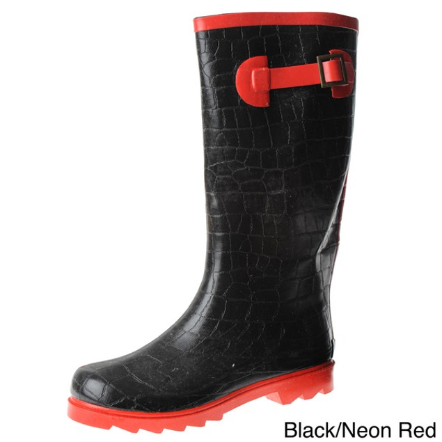 Henry Ferrera Women's Neon Style Rain Boots - Red or White