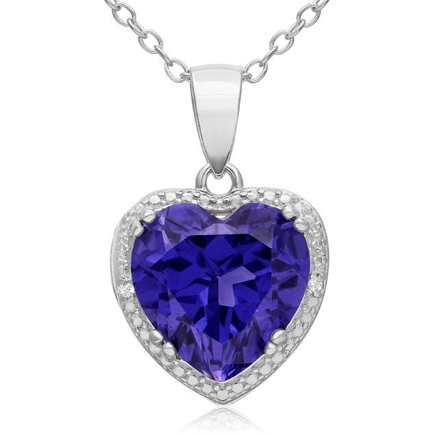 3 Carat Created Tanzanite and Diamond Heart Necklace
