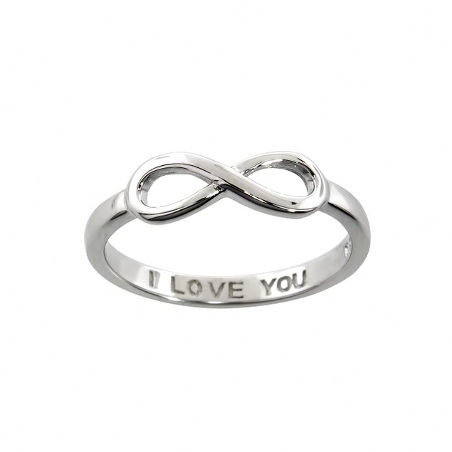 Sterling Silver Love You Infinity Ring