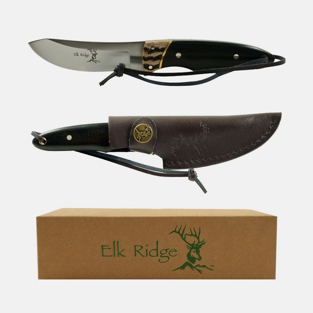 Elk Ridge Stainless Steel Hunting Knife with Leather Sheath