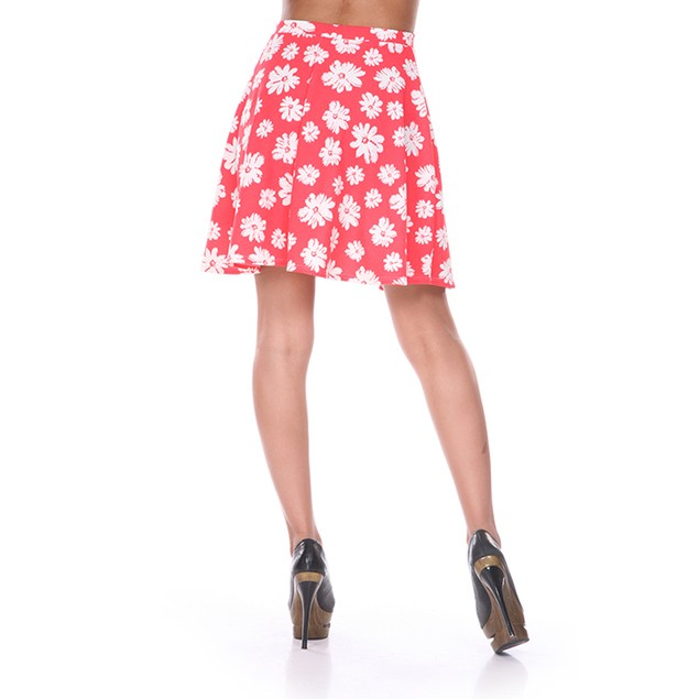 Coral & White Flower Print Skater Skirt