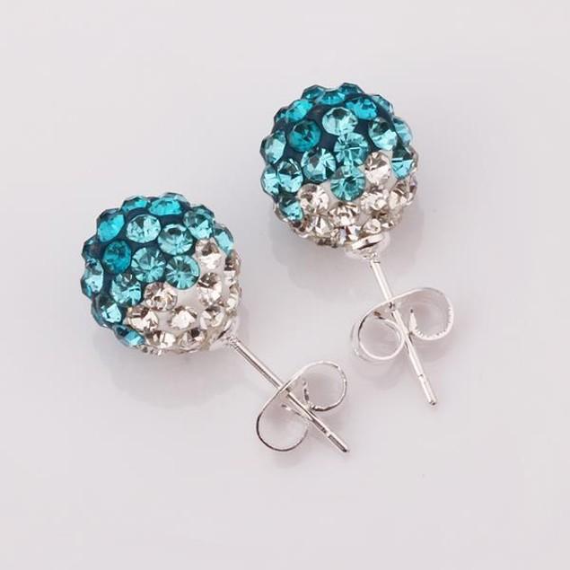 Two Toned Austrian Stone Stud Earrings - Light Blue