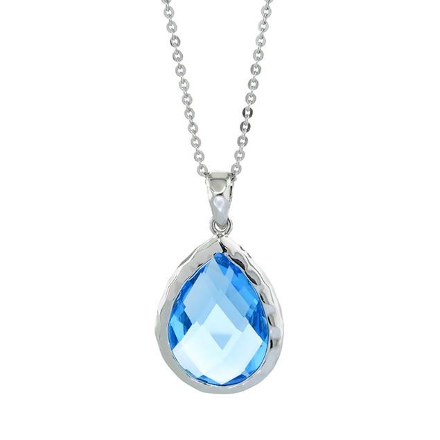 Gemma Luna Aquamarine Quartz Teardrop Necklace
