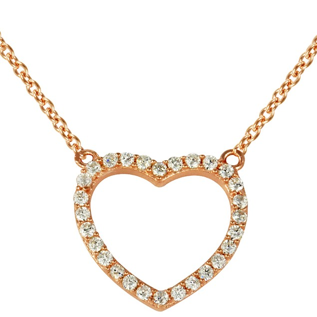 Rose Gold Plated Sterling Silver Heart Necklace