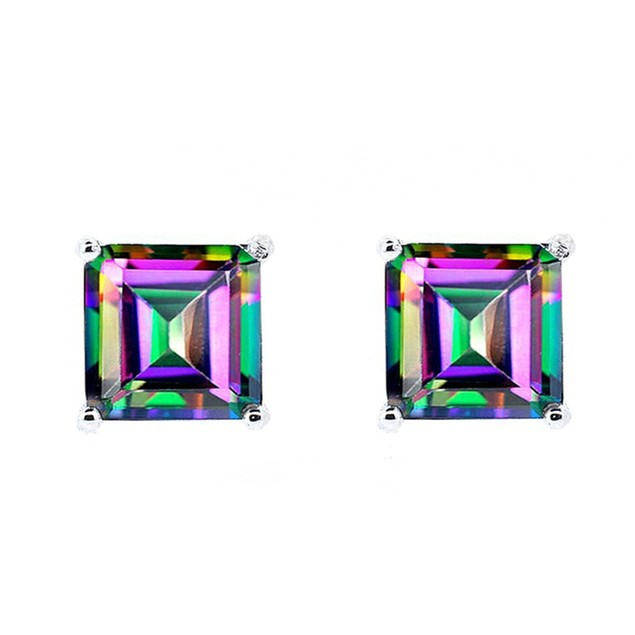 Sterling Silver & Colored Gemstone Stud Earrings