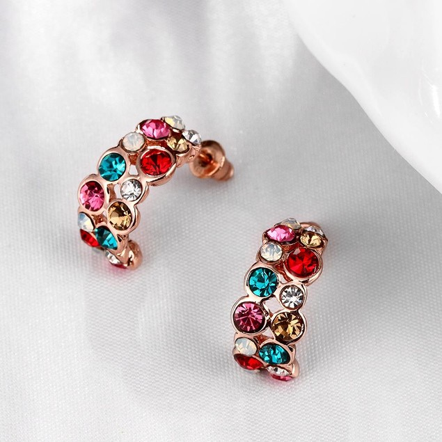 Rainbow Studded Rose Gold Plated Earrings