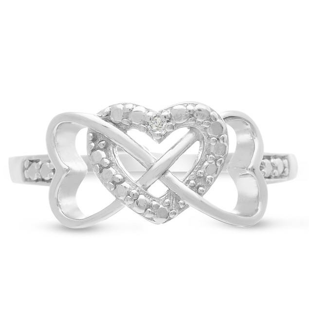 Sterling Silver Triple Heart Diamond Infinity Ring