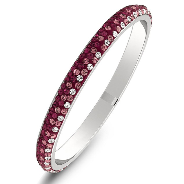 White Gold Plated Crystal Bangle Bracelets - 6 Colors