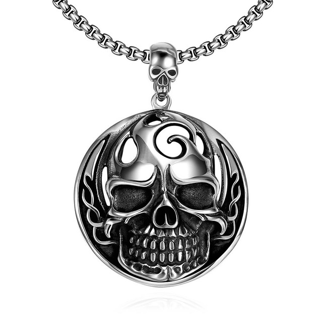 Alpha Steel Thick Skull Emblem Stainless Steel Necklace