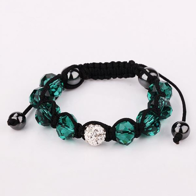 Disco Ball Austrian Crystal Strap Bracelet & Gemstone Beads -Dark Emerald