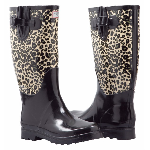 Forever Young Women's Tall Rubber Print Design Rain Boots