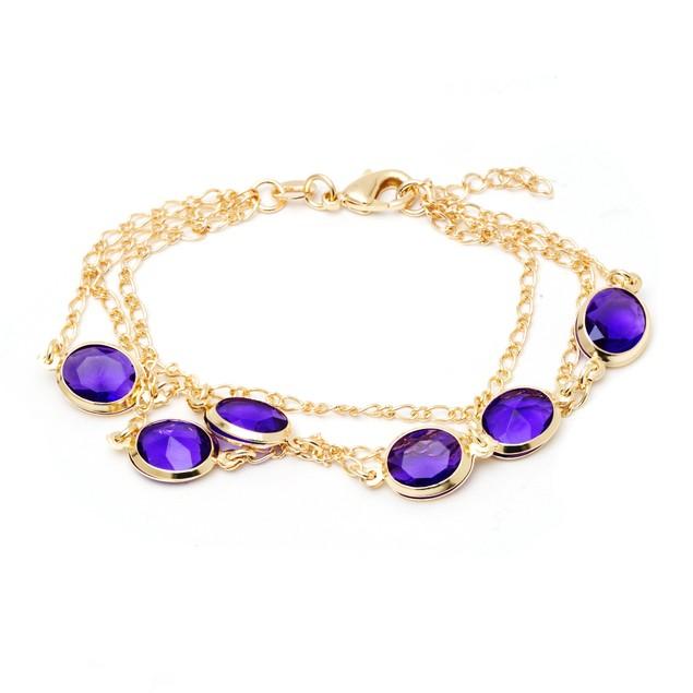 18K Gold and Amethyst Crystal Bracelet