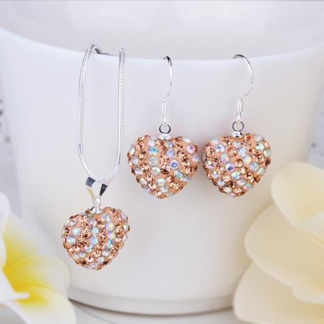 Multi-Pave Heart Drop Earring and Necklace Set - Rainbow Citrine