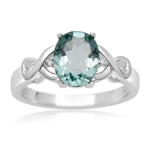 1 3/4 Ct Green Amethyst and Diamond Ring