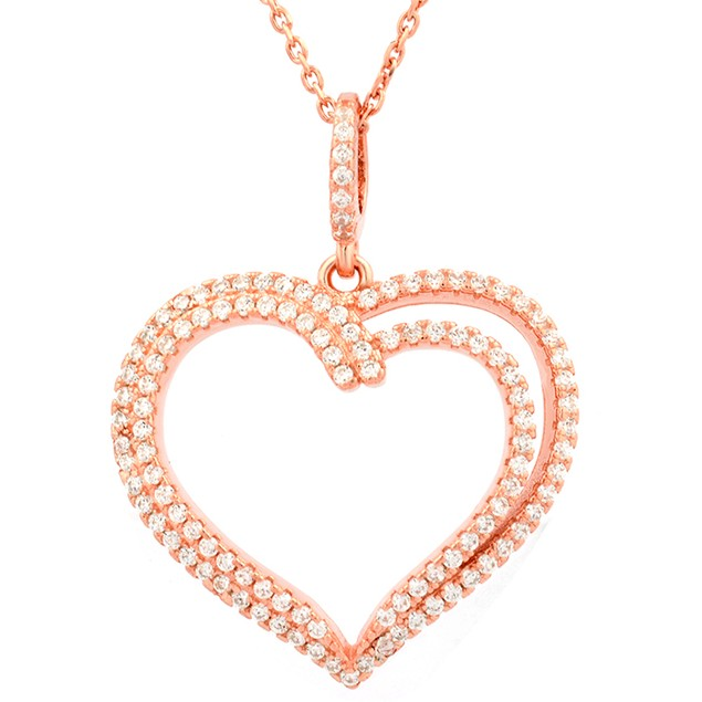 Rose Gold Plated Sterling Silver Two Tier Pendant
