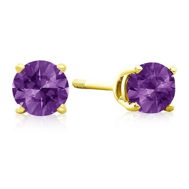 1/2 Carat Amethyst Stud Earrings in 14k Yellow Gold
