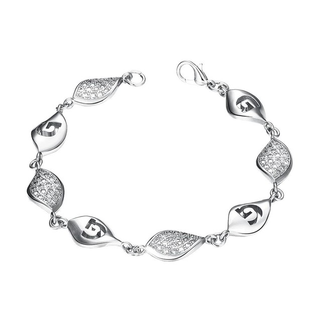 White Gold Plated European Intertwined Matrix Bracelet