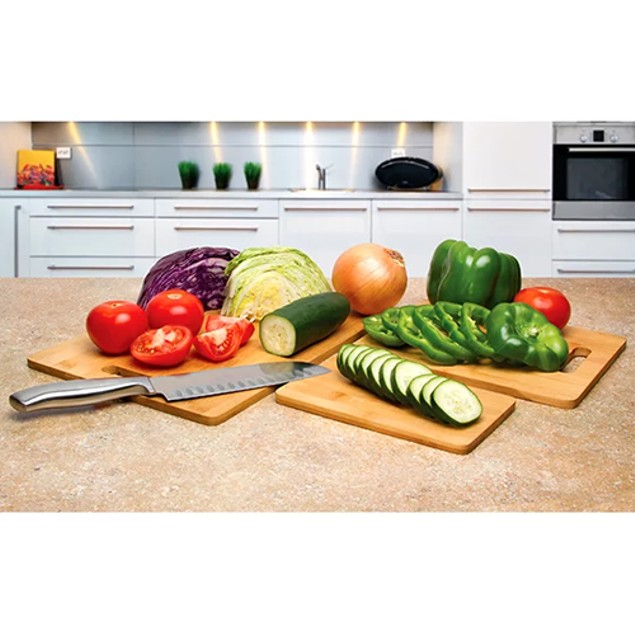 3-Piece Set: Ultimate Bamboo Cutting Boards with Handles