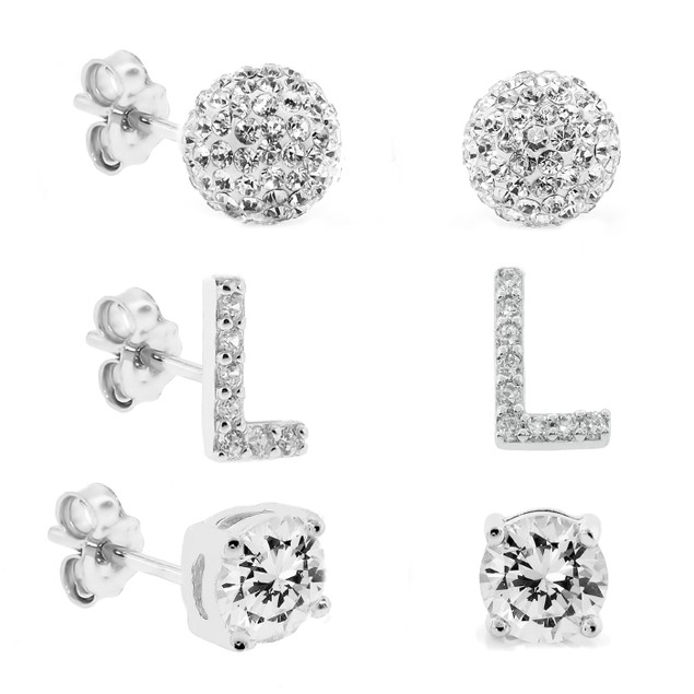 3-Piece Set: Initial Stud Earrings with Swarovski Elements - L