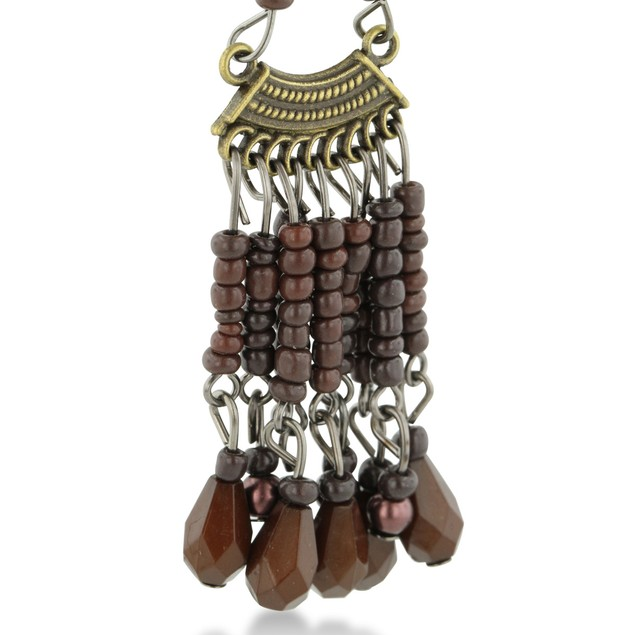 Chandelier Earrings with Chocolate Brown Beads
