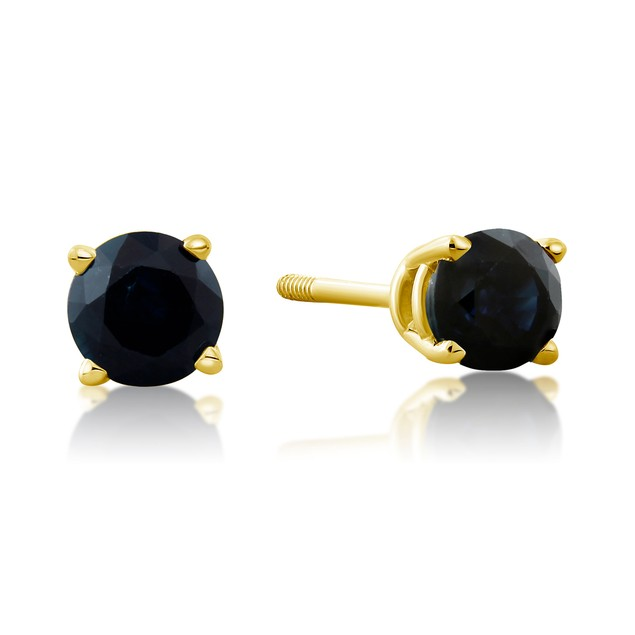 14k Yellow Gold & 0.60ct Blue Sapphire Stud Earrings